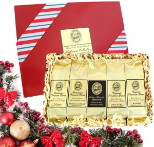 Kona Hawaiian Gourmet Coffee Gift Set, 5 Pkgs. of Premium Ground Coffee, Brews 60 Cups
